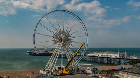 View of the iconic Brighton wheel being dismantled