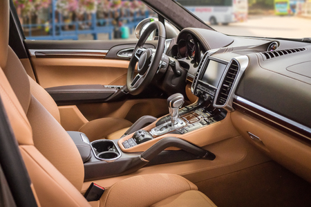 Luxury and modern brown car interior. Stock Photo