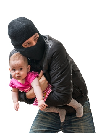kidnapping: Thief is stealing kidnapped baby. Children kidnapping concept. Isolated on white background.