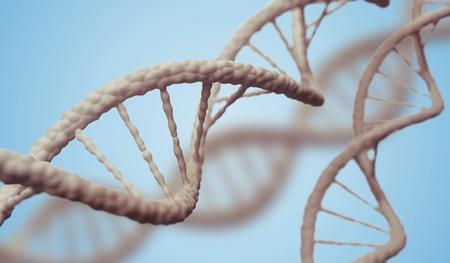 DNA molecules on blue background. 3D rendered illustration.