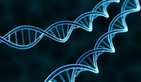 genetically: Genetics concept. Glowing DNA molecule on dark background. 3D rendered illustration. Stock Photo
