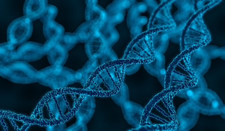 genetically: 3D rendered illustration of DNA glowing molecule.