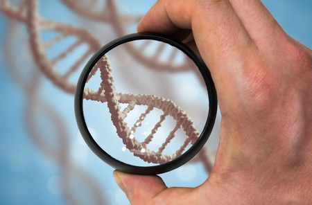 researching: Scientist examinates DNA molecule. Genetics research concept. Stock Photo