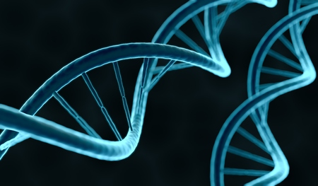 Closeup view on DNA molecule. 3D rendered illustration. Stock Photo