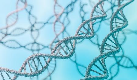 Genetics concept. 3D rendered illustration of DNA molecules. Stock Photo