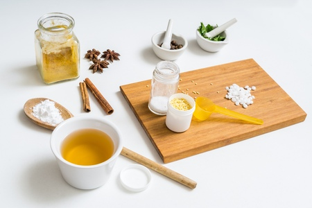 Ingredients for home made cosmetics.