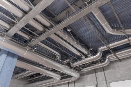 3D rendered illustration of HVAC system and pipes. Stock Photo