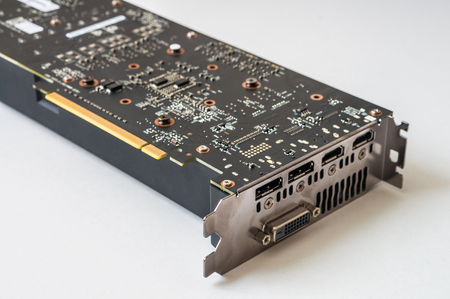 hdmi: Connectors and ports of modern PCI computer videocard. Stock Photo