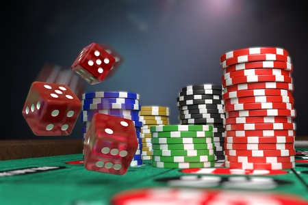 Gambling concept. Dice and casino chips. 3D rendered illustration. Stock Photo