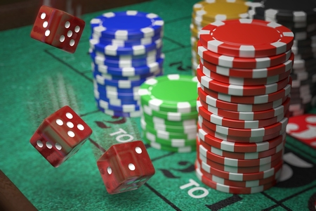 3D rendered illustration of dice and casino chips. Gambling concept.