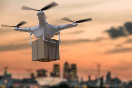 3D rendered illustration of flying drone delivering package at sunset.