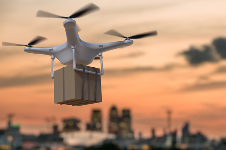 3D rendered illustration of flying drone delivering package at sunset.