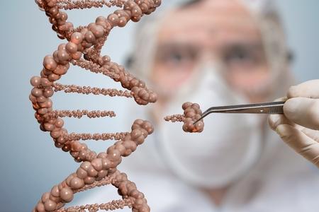 科学者は、DNA の分子の一部を置き換えています。遺伝子工学、遺伝子操作の概念。