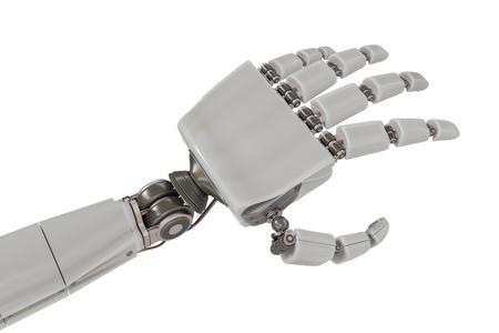 Cyborg metallic hand isolated on white background. 3D rendered illustration.