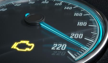 Controllo della spia di allarme malfunzionamento del motore nel cruscotto dell'auto. Illustrazione di rendering 3D