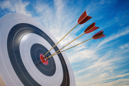 3D rendered illustration of target with arrows.