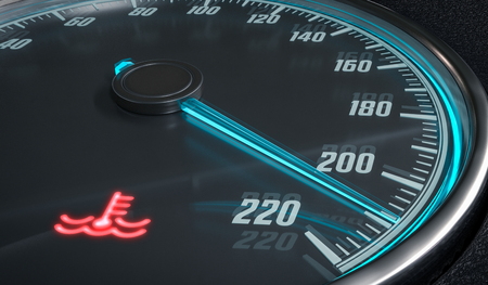 coolant temperature: Engine overheating control. Coolant warning light in car dashboad. 3D rendered illustration. Stock Photo