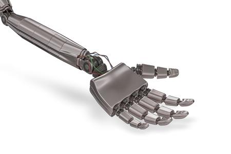 Robotic metallic hand isolated on white background. 3D rendered illustration. Stock Photo