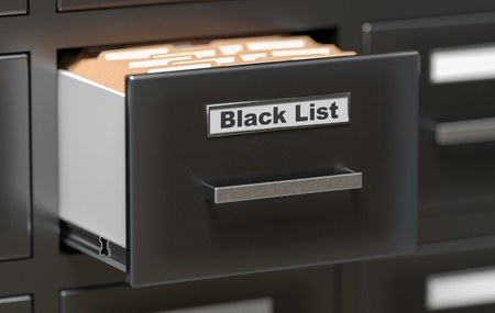 Cabinet in office with Black List folders. 3D rendered illustration.