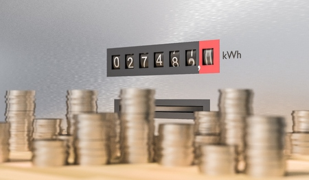 Electricity meter with many coins. Expensive energy and power consumption concept. 3D rendered illustration. 스톡 콘텐츠