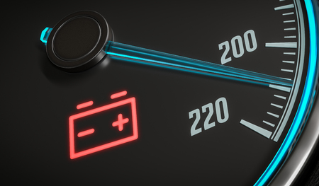 Discharged battery warning light in car dashboard. 3D rendered illustration.