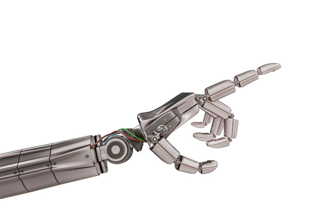 Robotic metallic hand isolated on white background. 3D rendered illustration. Stock Photo