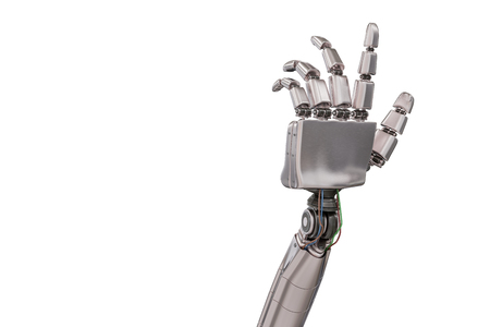 Cyborg metallic hand isolated on white background. 3D rendered illustration.