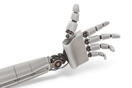 Robotic plastic hand isolated on white background. 3D rendered illustration. Stock Illustration - 77067866