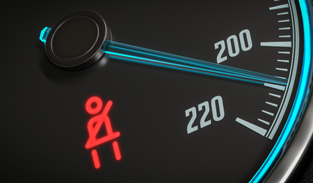 damage control: Seatbelt warning light control in car dashboard. 3D rendered illustration. Stock Photo