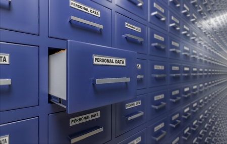 Personal data protection and privacy concept. A lot of cabinets with documents and files. 3D rendered illustration.