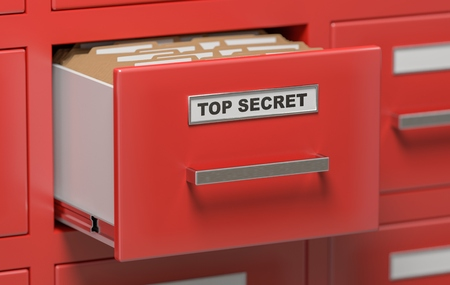 anonymity: Top secret files and documents in cabinets in office. 3D rendered illustration.