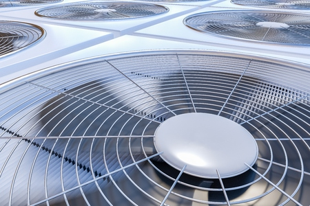 Close up view on HVAC units (heating, ventilation and air conditioning). 3D rendered illustration. Archivio Fotografico