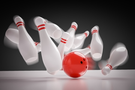 knocking: 3D rendered illustration of bowling ball knocking down all pins - strike. Motion blur. Stock Photo