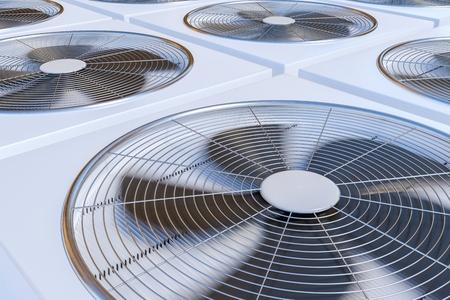 3D teruggegeven illustratie van HVAC-eenheden (het verwarmen, ventilatie en airconditioning).