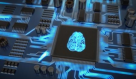 Circuito electrónico de inteligencia artificial. Microchip con cerebro brillante 3D representa la ilustración.