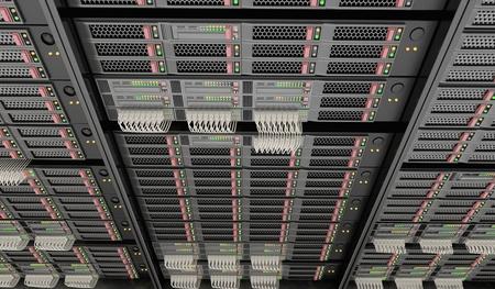 3D rendered illustration of servers in datacenter.  Stock Photo