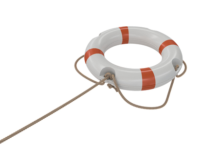 life bouy: 3D rendered illustration of white life buoy. Isolated on white background. Stock Photo