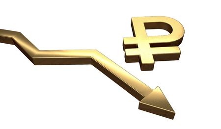collapse: Golden ruble symbol and arrow down. Isolated on white background. 3D rendered illustration.
