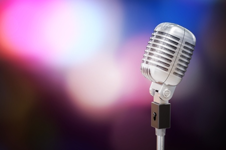 3D rendered illustration of silver retro microphone. Music and disco concept.