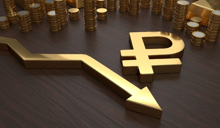 collapse: Golden ruble symbol and arrow down. 3D rendered illustration. Stock Photo