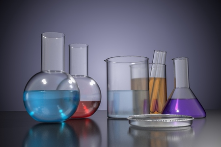 3D rendered illustration of chemical laboratory glassware. Stock Photo