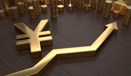 yen: Golden Yen symbol and arrow up. 3D rendered illustration.