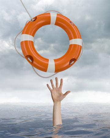 Der Mensch ertrinkt im Ozean und fängt die Boje auf. Standard-Bild - 81342910