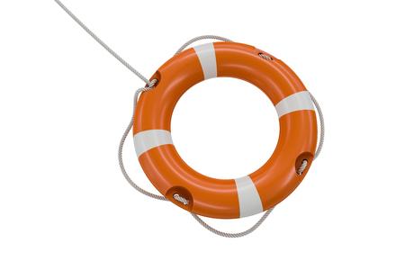 3D rendered illustration of orange life buoy. Isolated on white background.