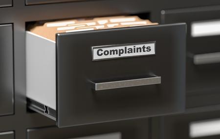 Klachtenbestanden en documenten in de kast in kantoor. 3D teruggegeven illustratie.