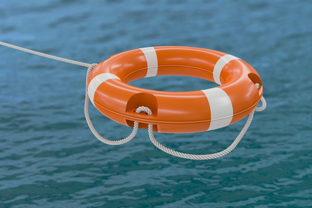 life bouy: 3D rendered illustration of orange life buoy. Ocean in background.