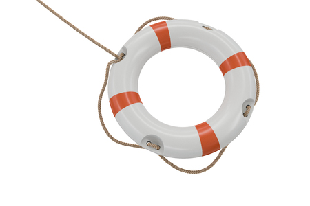 3D rendered illustration of white life buoy. Isolated on white background. Stock Photo