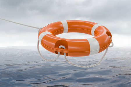 life bouy: 3D rendered illustration of orange life buoy. Sea in background.