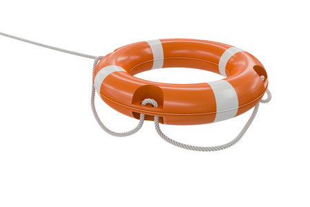 life bouy: 3D rendered illustration of orange life buoy. Isolated on white background.
