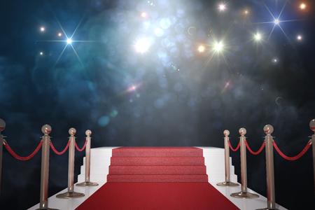 Alfombra roja para VIP. Luces de destello en el fondo. 3D representa la ilustración. Foto de archivo